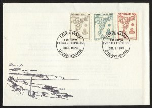 wc065 wc066 Faroe Islands 1975 Maps set of 7 on 2 FDC first day covers