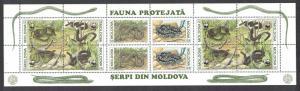 Moldova WWF Aesculapian Snake Booklet pane SG#57-62 MI#MH1 Blatt SC#72-74