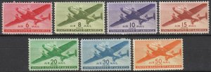 Stamp US Sc C025-31 1941 Airmail Twin Motored Transport Plane Set WWII Army MNH