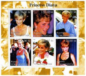 TURKMENISTAN 2000 Princess Diana Sheet Perforated Mint (NH)VF