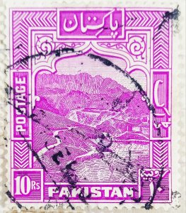 Pakistan:1948:10Rs:Rose Purple-General Issue-(Uncommon)