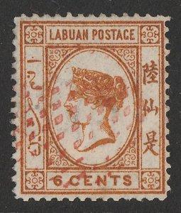 LABUAN : 1879 QV 6c Orange-brown, wmk CA crown.