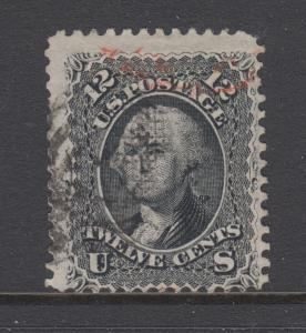 US Sc 97 used 1867 12c black Washington F Grill, black & red cancels, sound