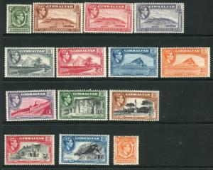 GIBRALTAR-1938-51  A lightly mounted mint set to £1 Sg 121-131