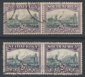 SOUTH AFRICA 1930 UNION BUILDINGS 2D PAIRS ROTO PRINTING BOTH COLOURS USED