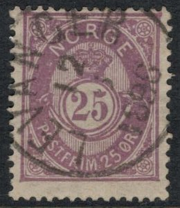Norway #45  CV $30.00  Levanger, Norway May 12, 1896 cancellation