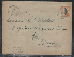 FRENCH INDOCHINA  (PP3008B) 1924  COVER PSE 4C  TAI-UNG TONKIN   TO HANOI
