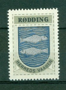 Denmark. Poster Stamp 1940/42. Mnh. District: Rodding. Coats Of Arms.Fish,Ocean.
