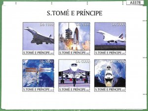 A3378 - SAO TOME & PRINCIPE ERROR MISSPERF: 2003 Concord, Airplanes, Challenger