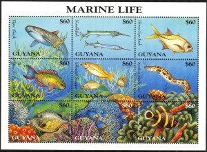 Guyana 1995 Marine Life Fishes Sharks Corals (2) Sheet MNH