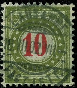 Switzerland 1897 Sc J24 Zu Porto 18G IIn uvg normal frame olive green & carmine