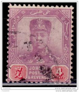Malaya Johore, 1904-10, Sultan Ibrahim, 4c, Scott# 62, used