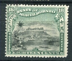 NORTH BORNEO; 1897 early pictorial issue fine used 18c. value