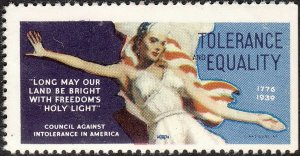 Stamp Label USA 1939 WWII Poster Council Against Intolerance America Equality MN