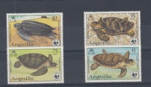 ANGUILLA (MM148) # 537-540 VF-MNH VARc,$ 1983 TURTLES /WWF EMBLEM STAMPS CV $47