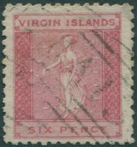 British Virgin Islands 1866 SG7 6d red St Ursula FU