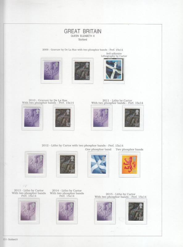 2009-2015 SCOTLAND REGIONAL DEFINITIVES 56P-£1.33 MINT NEVER HINGED