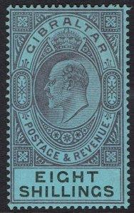 GIBRALTAR 1903 KEVII 8/- WMK CROWN CA
