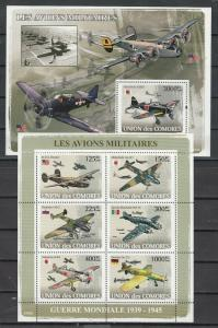 Comoros Is., 2008 issue. War Planes sheet of 6 & s/sheet.