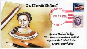 21-019, 2021,Elizabeth Blackwell, Event Cover, Local Postmark, 200th Birthday,
