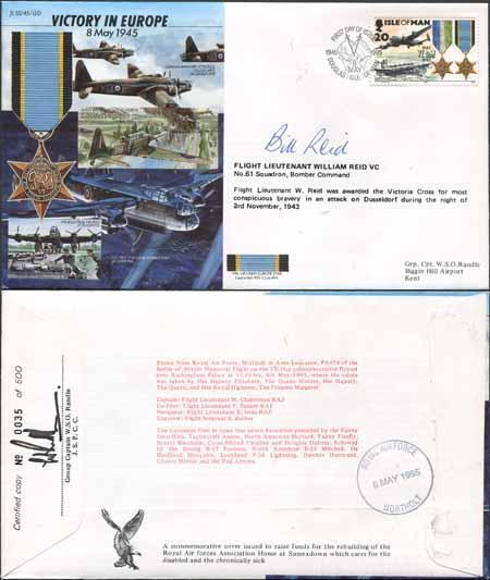 JS45/12DC Victory in Europe sign by Flight Lieutenant William Reid VC (E)