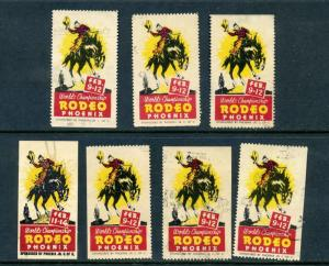 7 VINTAGE PHOENIX RODEO POSTER STAMPS (L499) WORLD'S CHAMPIONSHIP