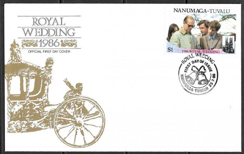TUVALU NANUMAGA 1986 $1 Prince Philip Royal Wedding Sc 72a FDC