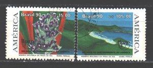 Brazil. 1990. 2381-82. Nature reserve, landscape, flowers, flora. USED.