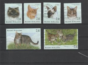 Finland  Scott#  972-977  Used  (1995  Cats)