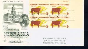 US Sc# 1328 FDC PL# BLK Nebraska Cow Corn Art Craft