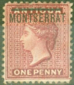 Montserrat 1883 1d Red SG6a Inverted S Fine Mtd Mint Scarce