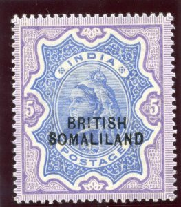 Somaliland 1903 QV 5r ultramarine & violet MLH. SG 24. Sc 19.