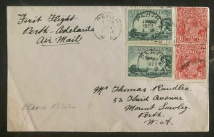 1929 Perth Australia First Flight Airmail Cover FDC To Adelaide