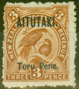 Aitutaki 1903 3d Yellow-Brown SG5 Fine Mtd Mint