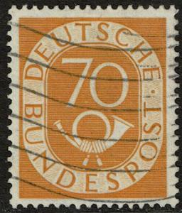 Germany 70 Used - 25pf org & blk / yellow paper (1902)