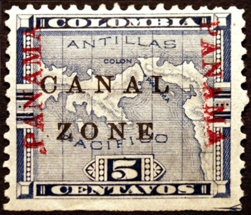 Canal Zone #12 5c Blue 1904  VF MLH No Bar Errors Rare