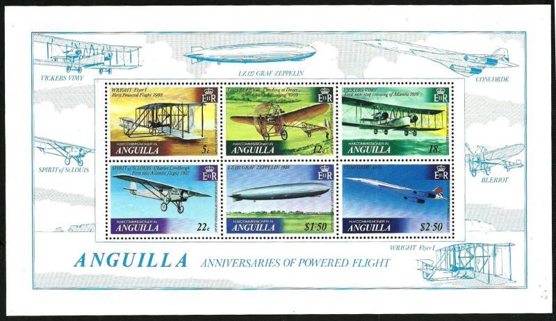 ANGUILLA 1978 VF MNH Souvenir Sheet   Anniversary of Powered Flight & Zeppelin
