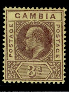 GAMBIA EDVII SG75, 3d purple/yellow, LH MINT.