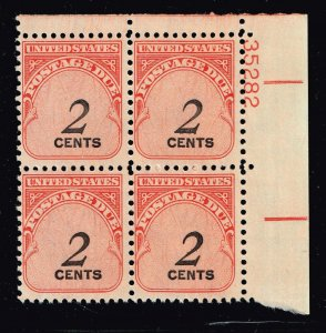 US STAMP #J90 – 1959 2c Rotary Press PL# BLK OF 4 MNH/OG