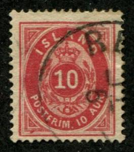 Iceland SC#11 Post Horn 10a perf 14x13-1/2 Canceled