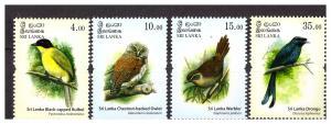 SRI LANKA 2017  Endemic Birds 4 v MNH