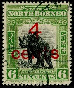 NORTH BORNEO SG187c, 4c on 6c black & olive-green, FU. Cat £200. PERF 14½-15.