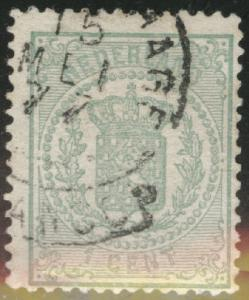 Netherlands Scott 19 used 1869 coat of arms stamp