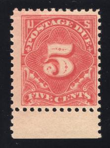US# J64a - Rose Red - Postage Due - Margin Single - Mint - O.G. - N.H.
