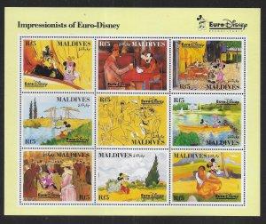 Maldive Islands 1827 Disney Characters in Art mini-sheet MNH c.v. $15.00 (fr)