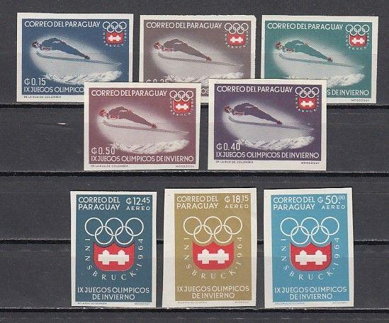 Paraguay, Scott cat. 783-790. Winter Olympics IMPERF issue.