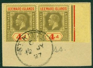 EDW1949SELL : LEEWARD ISLANDS 1923 Scott #73 Choice Very Fine Used pair on piece