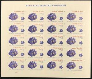 4987   Forget-me-not Missing Children MNH Forever sheet of 20   FV $11.00   2015