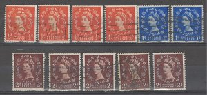 COLLECTION LOT # 3863 GB 11 STAMPS INVERTED  WTMK 1952+ CV+$14
