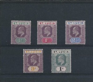 ST LUCIA 1902-03 SET OF FIVE LMM SG 58/62 CAT £70